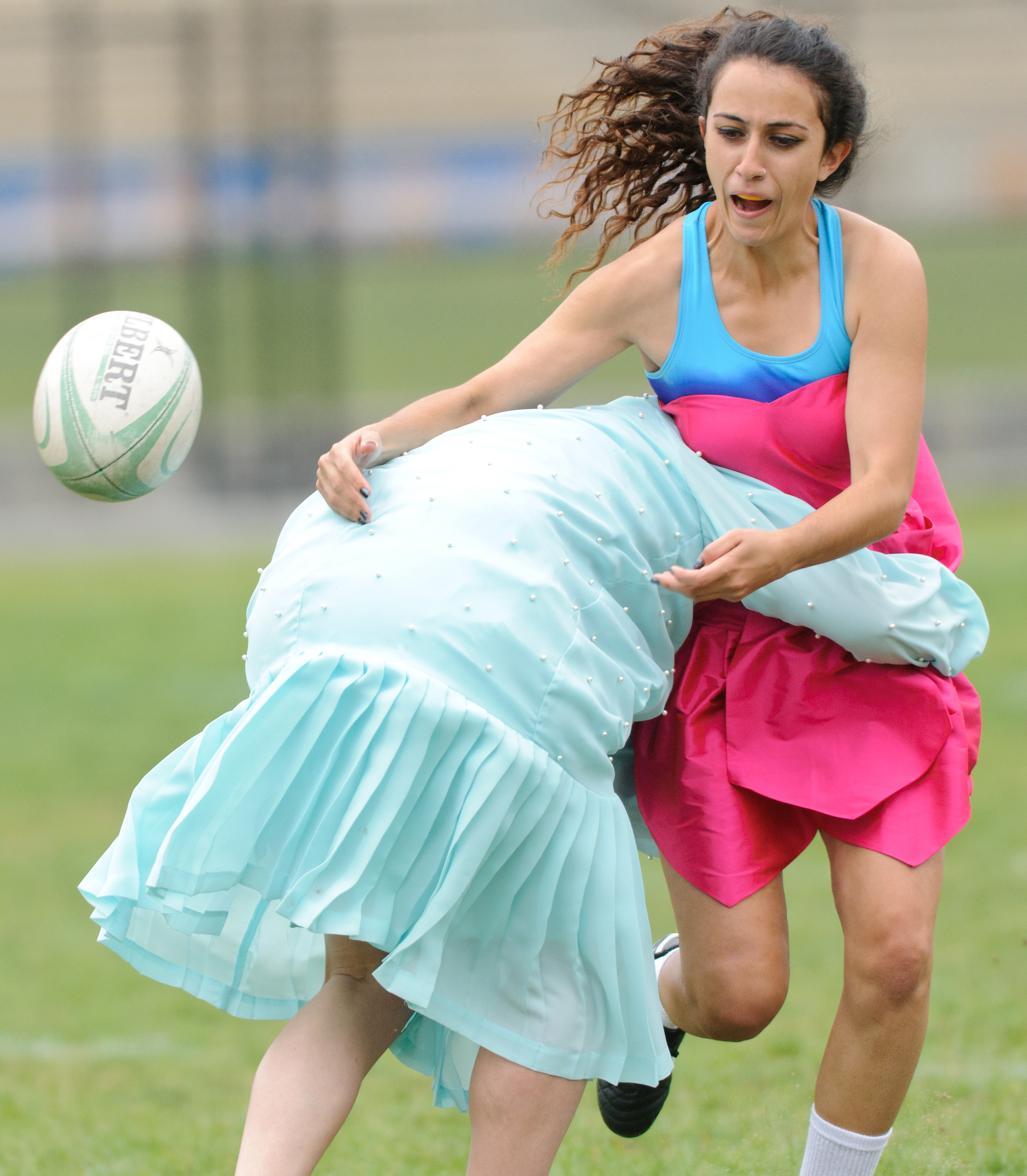 Mojo » When tackles meet frills: Prom dress rugby at UCLA