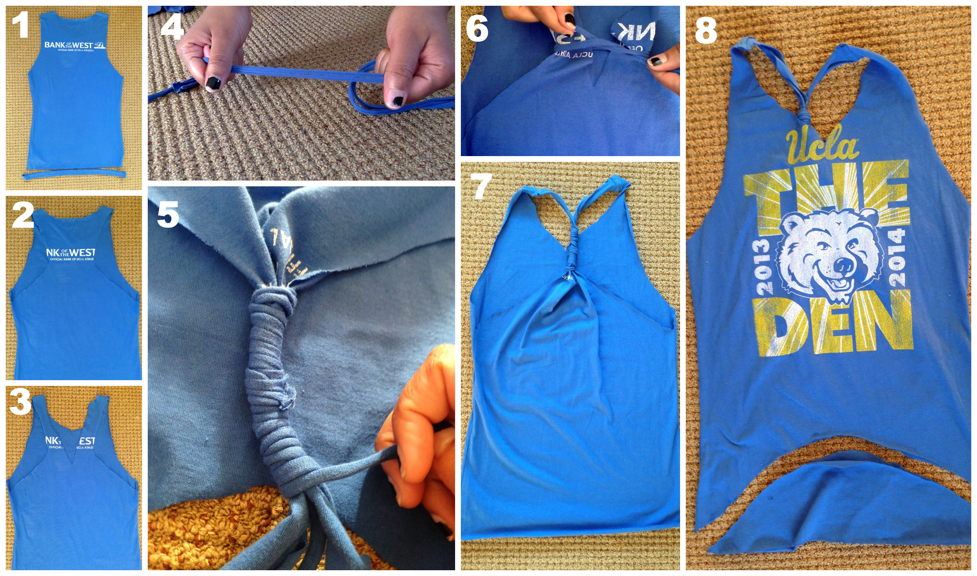 d823333ea Follow steps 1 and 2 from above to get the shirt into a tank top. Cut off  the bottom hem and save it.