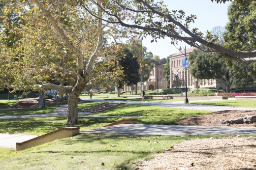 Today, UCLA's Dickson Court is flanked by what are collectively known as the Sunken Gardens, but this was not always so. (Owen Emerson/Daily Bruin senior staff)