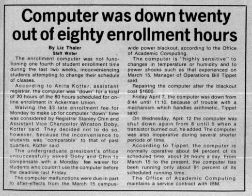 Enrollment issues were on a whole other level in 1978. (Daily Bruin file photo)