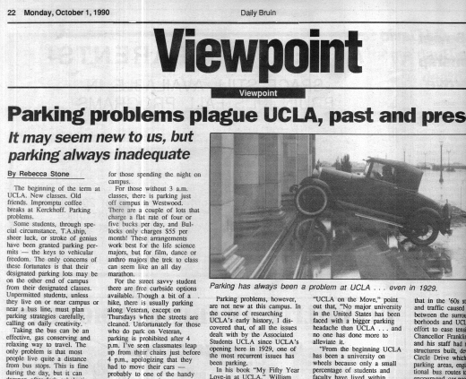 A Daily Bruin Viewpoint columnist writes about parking issues in 1990. (Daily Bruin file photo)