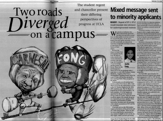 Affirmative action remains one of the most contentious issues in higher education. In the 2000 Daily Bruin Registration Issue, Student Regent Justin Fong argued for the repeal of a pair of UC policies that banned affirmative action. Then-UCLA Chancellor Albert Carnesale, whose column does not appear in this image, opposed affirmative action policies.
