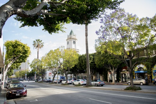 The Holmby Hall clock tower building is a symbol of Westwood Village – and a reminder of the bygone glory days of the business district. (Daily Bruin file photo)